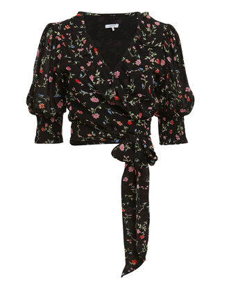 Printed Georgette Black Floral Wrap Top, BLACK FLORAL, hi-res