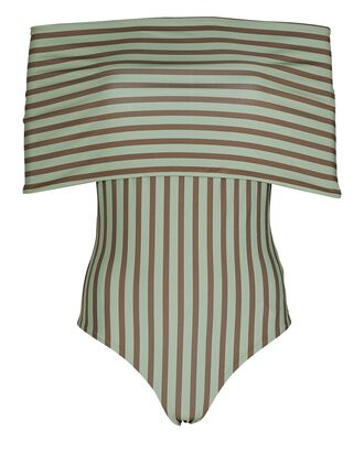 Tierras Remotas One-Piece Swimsuit, GREEN/BROWN, hi-res
