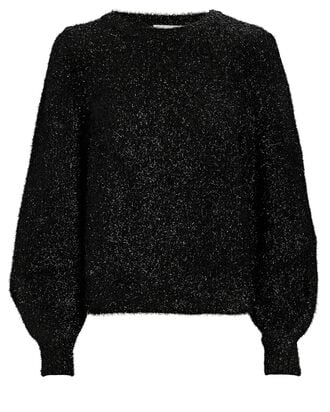 Carina Puff Sleeve Metallic Sweater, BLACK, hi-res