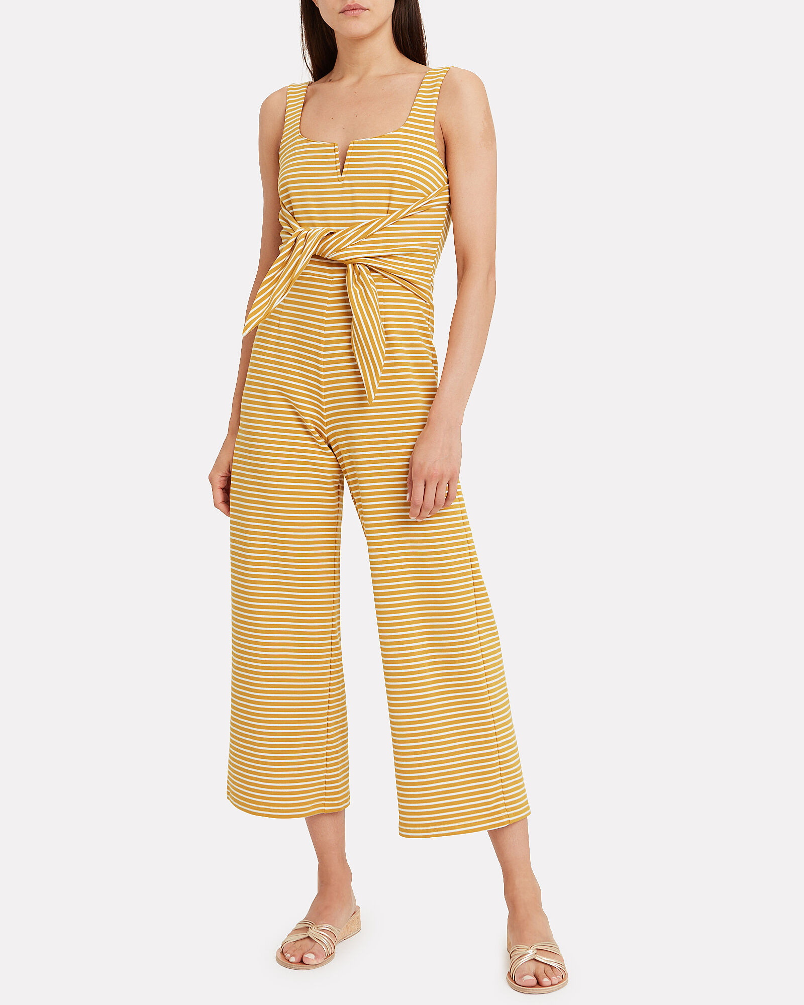 Heathe Striped Jumpsuit, YELLOW, hi-res