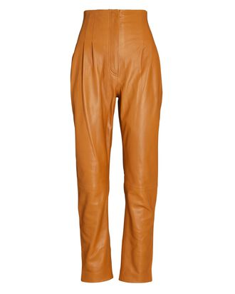 Tapered High-Waist Leather Pants, BROWN, hi-res