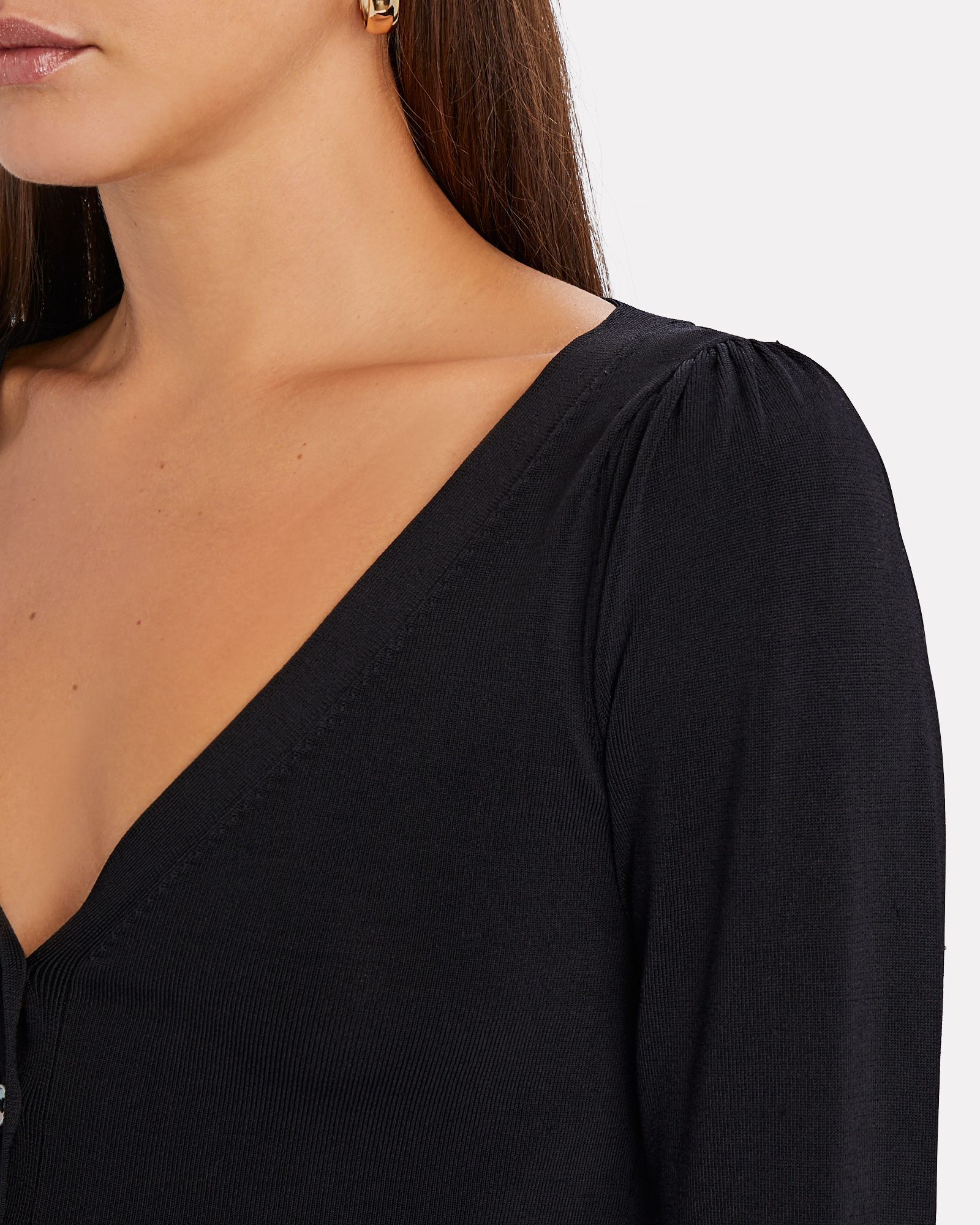 Nellie V-Neck Cardigan, BLACK, hi-res
