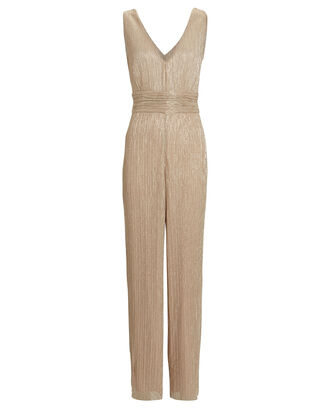 Shiloh Lamé Sleeveless Jumpsuit, GOLD, hi-res