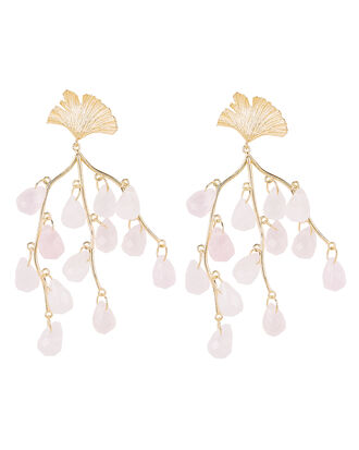 Caress of the Roses Earrings, GOLD/QUARTZ, hi-res