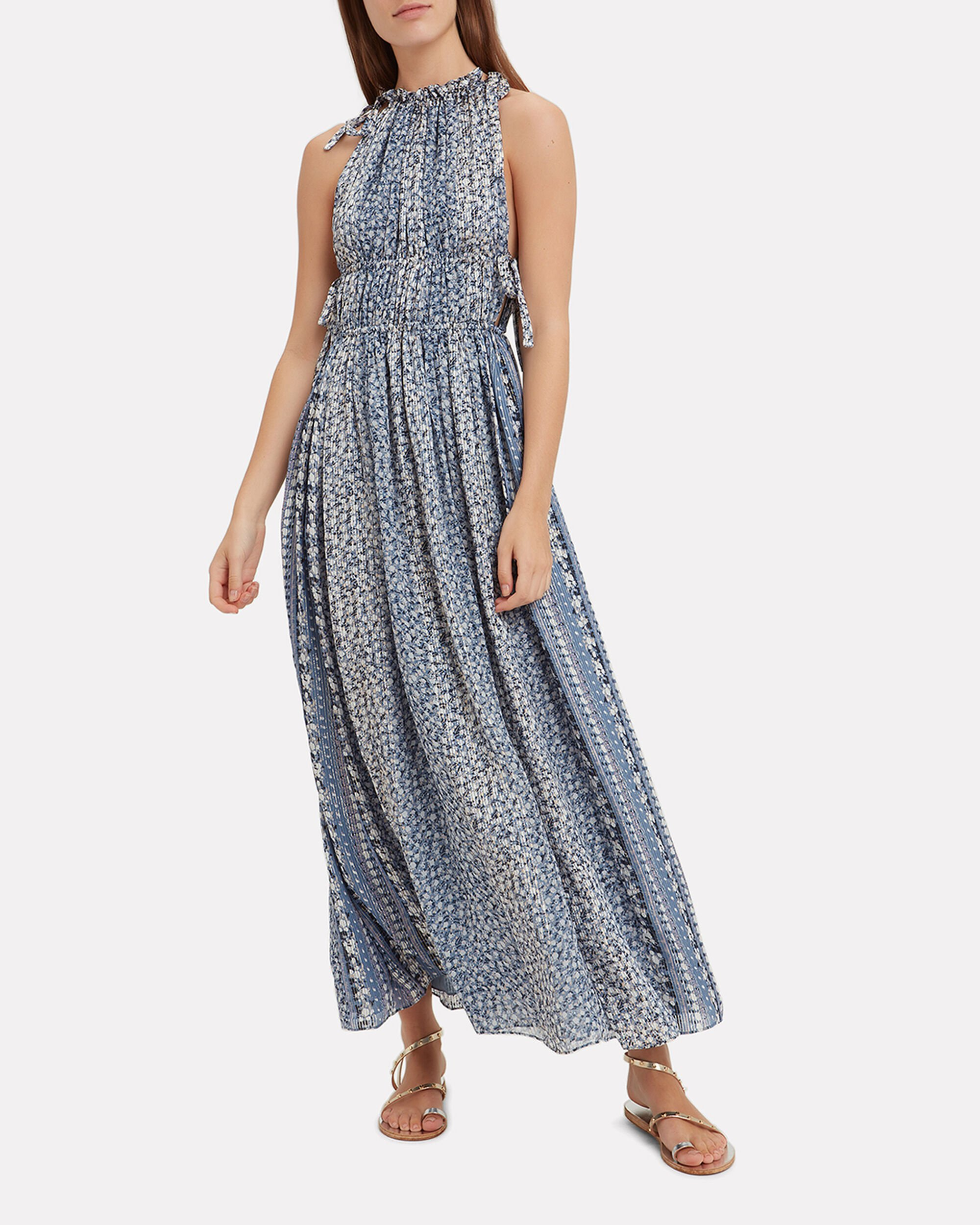 Augustine Pleated Maxi Dress, BLUE-MED, hi-res