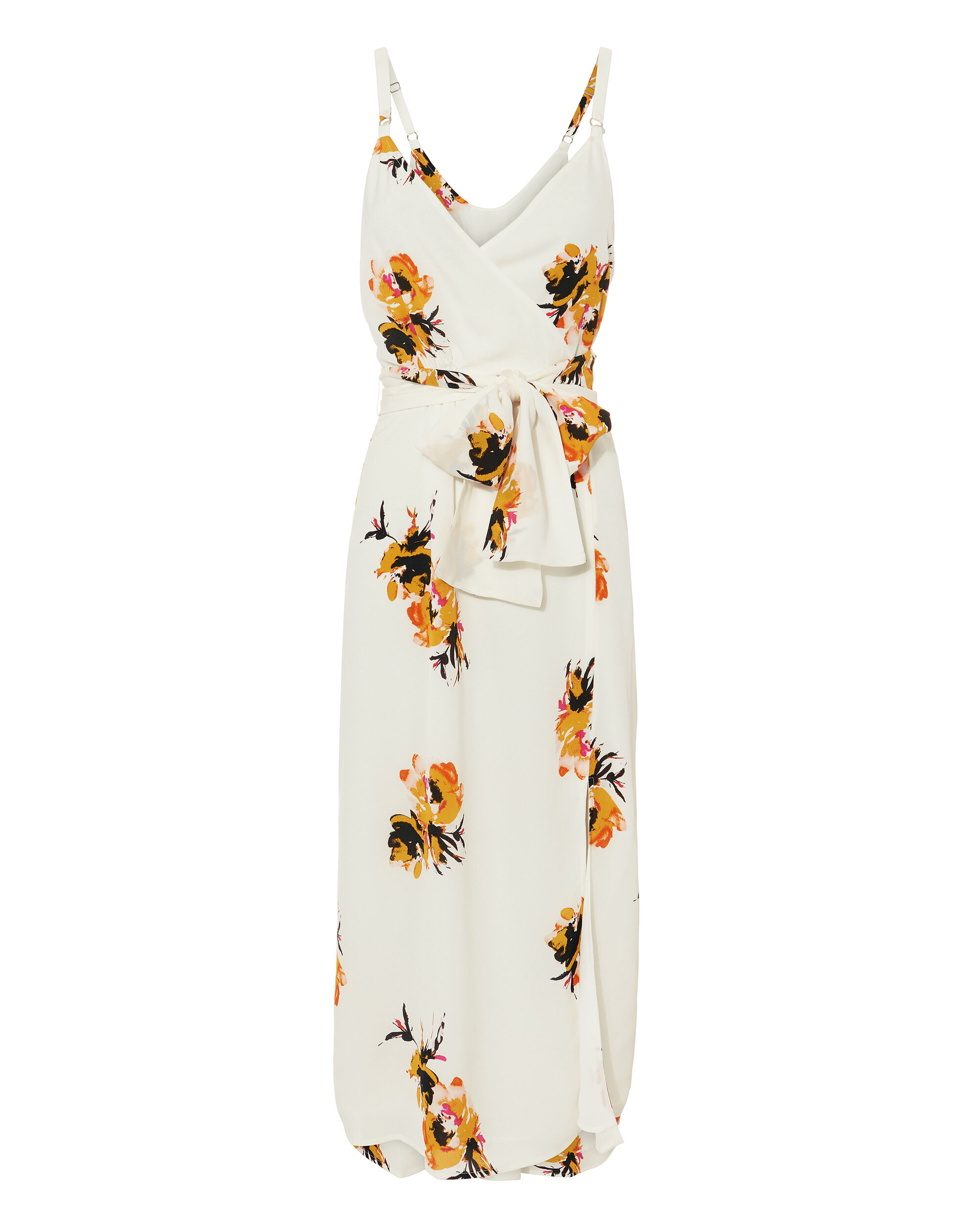 Marin Floral Wrap Dress, IVORY, hi-res