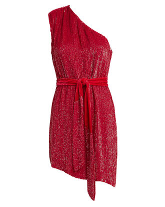 Ella One-Shoulder Sequin Dress, RED, hi-res