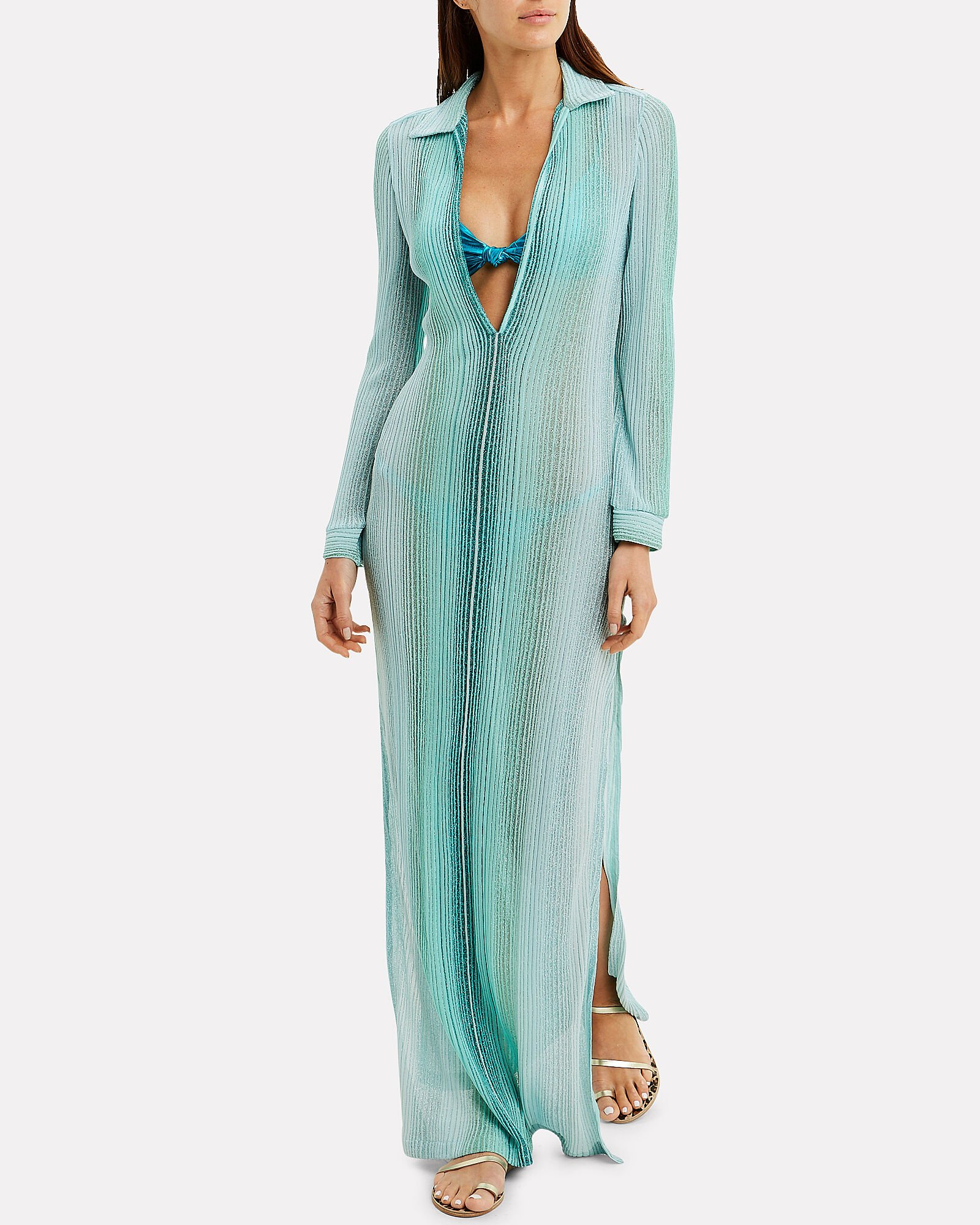 Lurex Striped Cover Up, TURQUOISE/METALLIC, hi-res
