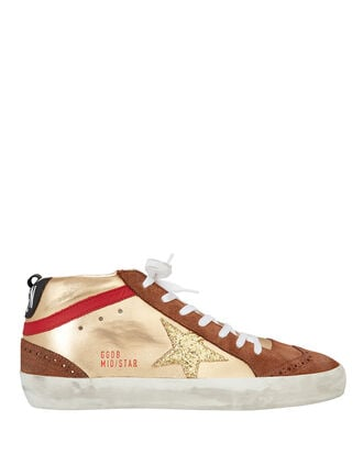 Mid Gold Glitter Star Sneakers, GOLD, hi-res