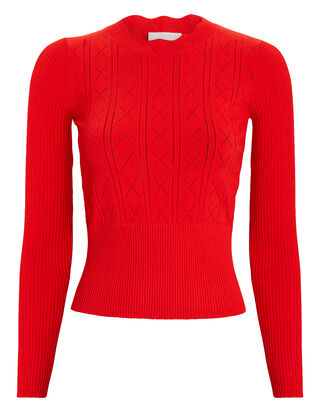 Clemente Knit Top, RED, hi-res