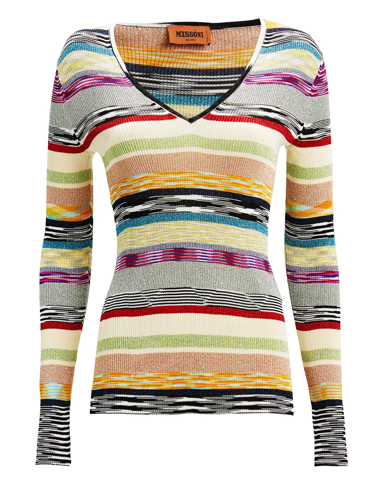 Lurex Rainbow Stripe Top, RAINBOW/METALLIC, hi-res