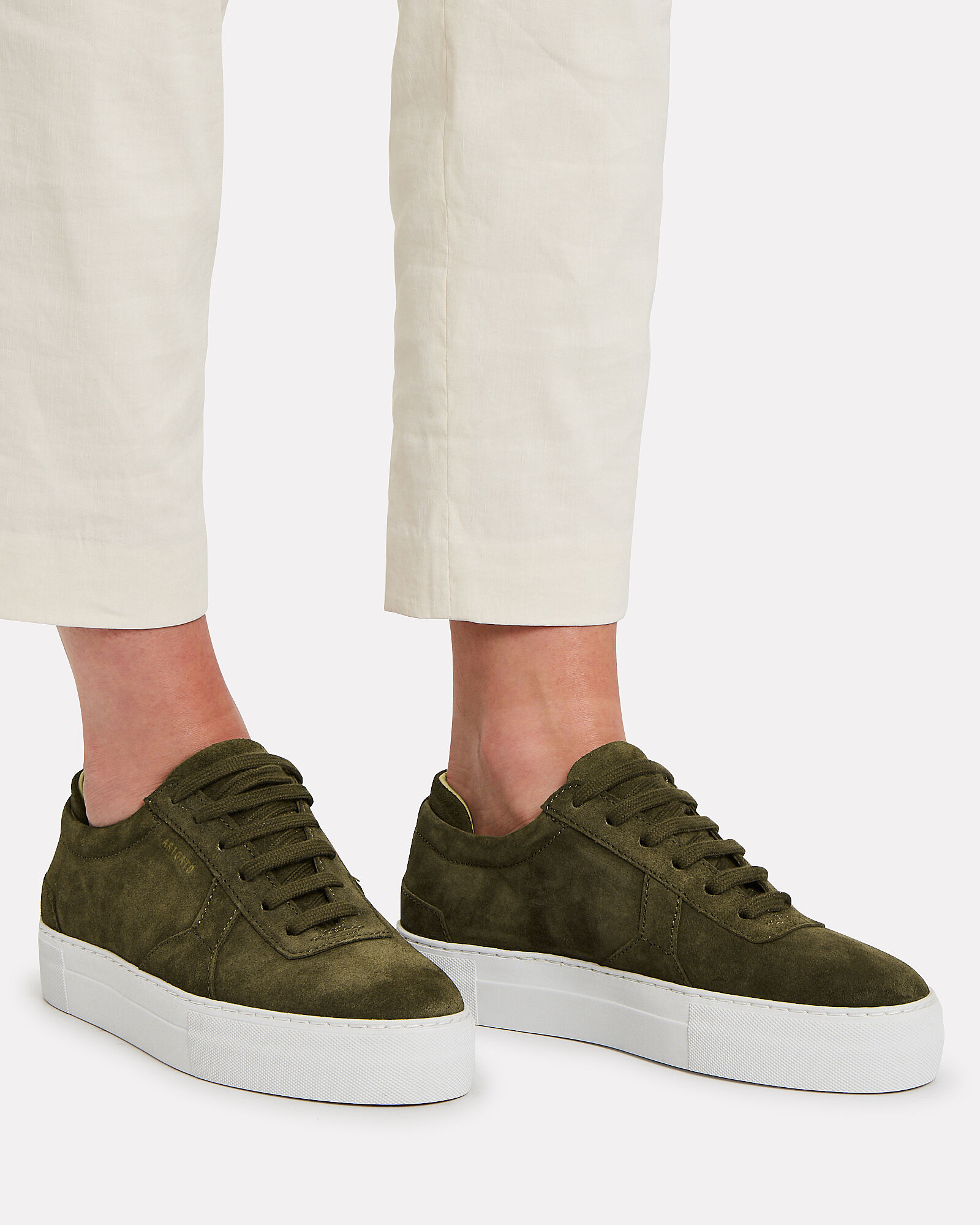 Platform Low-Top Suede Sneakers, OLIVE/ARMY, hi-res