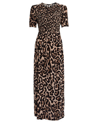 Adamaris Smocked Leopard Dress, BROWN/LEOPARD, hi-res