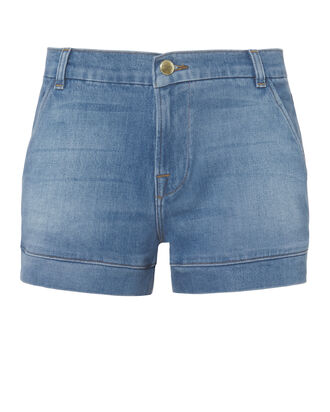 Mitered Denim Shorts, DENIM, hi-res
