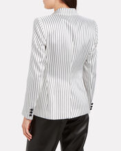 Charmer Double-Breasted Pinstripe Blazer, BLACK/WHITE, hi-res