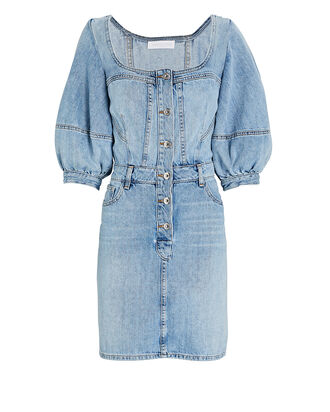 Poppy Puff Sleeve Denim Mini Dress, LIGHT WASH DENIM, hi-res
