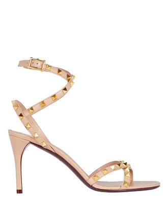 Rockstud Leather Sandals, BLUSH, hi-res