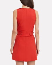 Belted Trench Dress, RED, hi-res