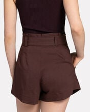 Joey Linen-Blend Paperbag Shorts, BROWN, hi-res