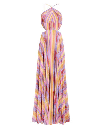 Janet Rainbow Stripe Pleated Gown, MULTI, hi-res