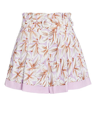 Lillian Belted Floral Paperbag Shorts, PINK/WHITE, hi-res