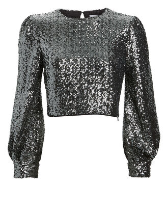 Sofia Cropped Sequin Top, SILVER, hi-res