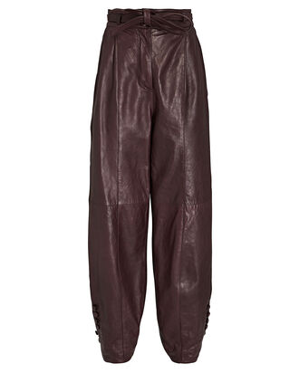 Navona Leather Trousers, BURGUNDY, hi-res