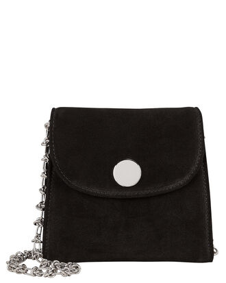 D Tiny Box Suede Shoulder Bag, BLACK, hi-res