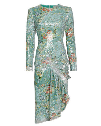 Daisy Sequin-Embellished Floral Dress, LIGHT BLUE/FLORAL, hi-res
