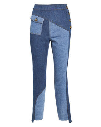 Lucie Paneled Straight-Leg Jeans, BLUE-LT, hi-res