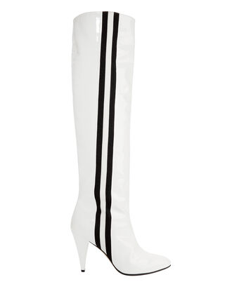 Scorpi Track Patent Leather Boots, WHITE, hi-res