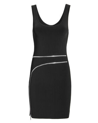 Curved Zip Detail Black Dress, BLACK, hi-res