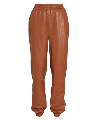 VanaGZ Leather Track Pants, CAMEL, hi-res