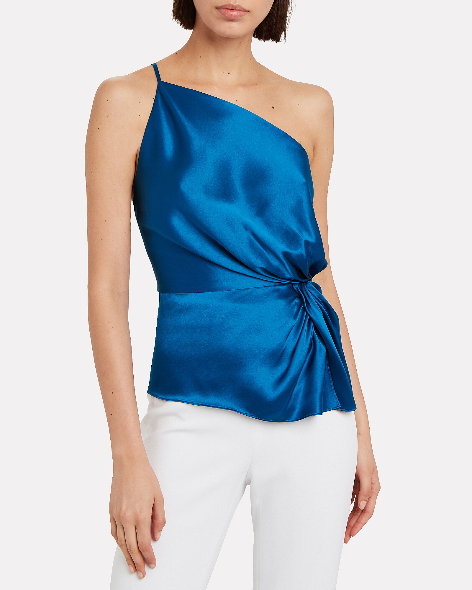 Silk Charmeuse Twisted Top, BLUE-MED, hi-res