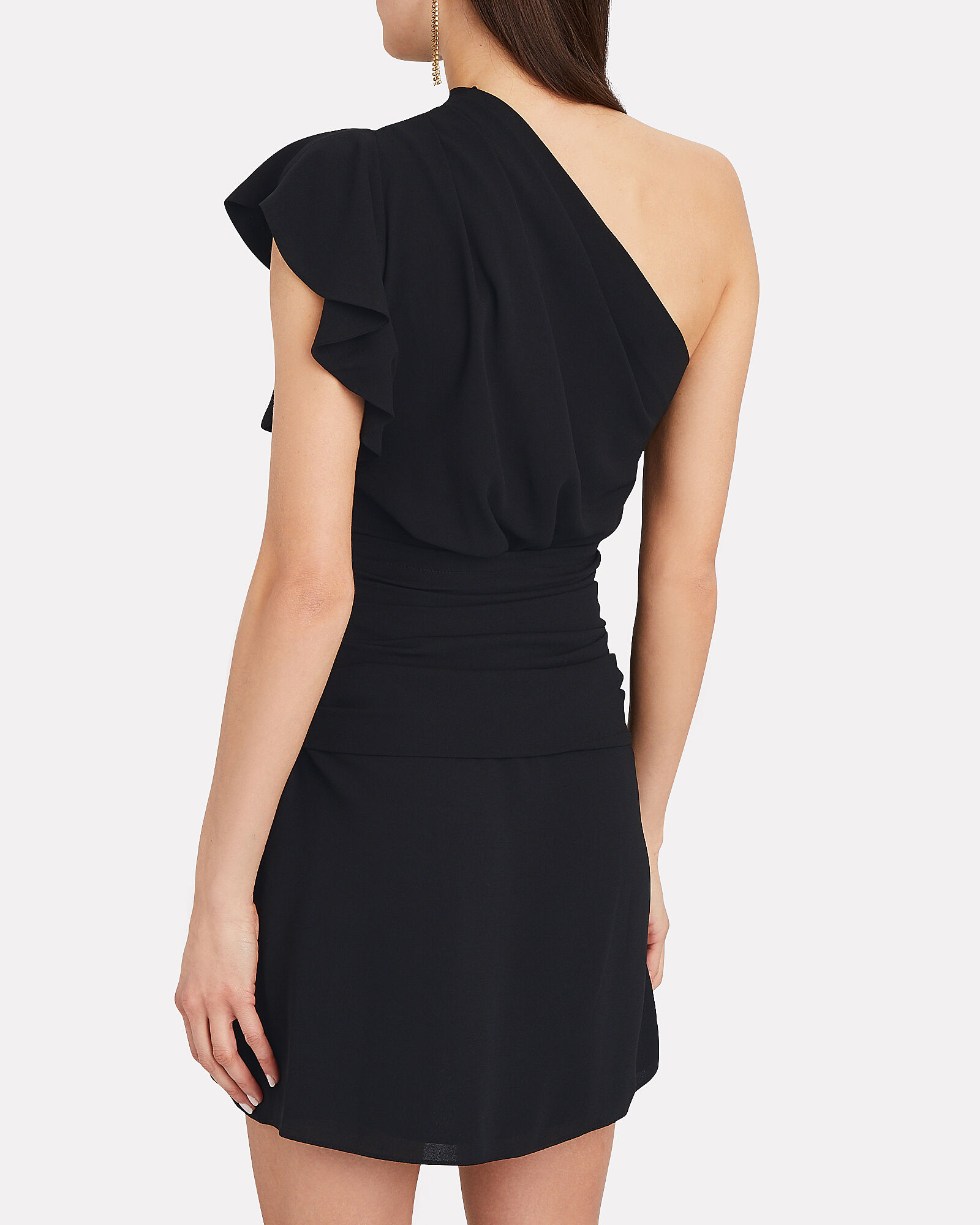 Bonzac Draped One-Shoulder Dress, BLACK, hi-res