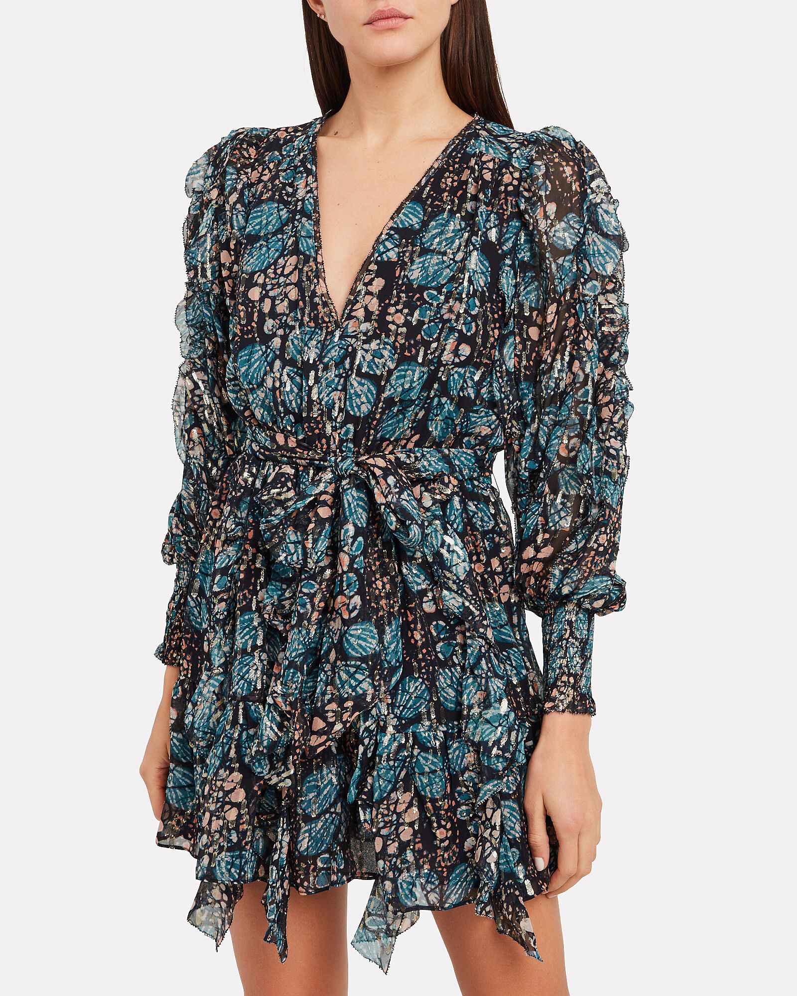 Natalia Silk Georgette Floral Dress, MULTI, hi-res