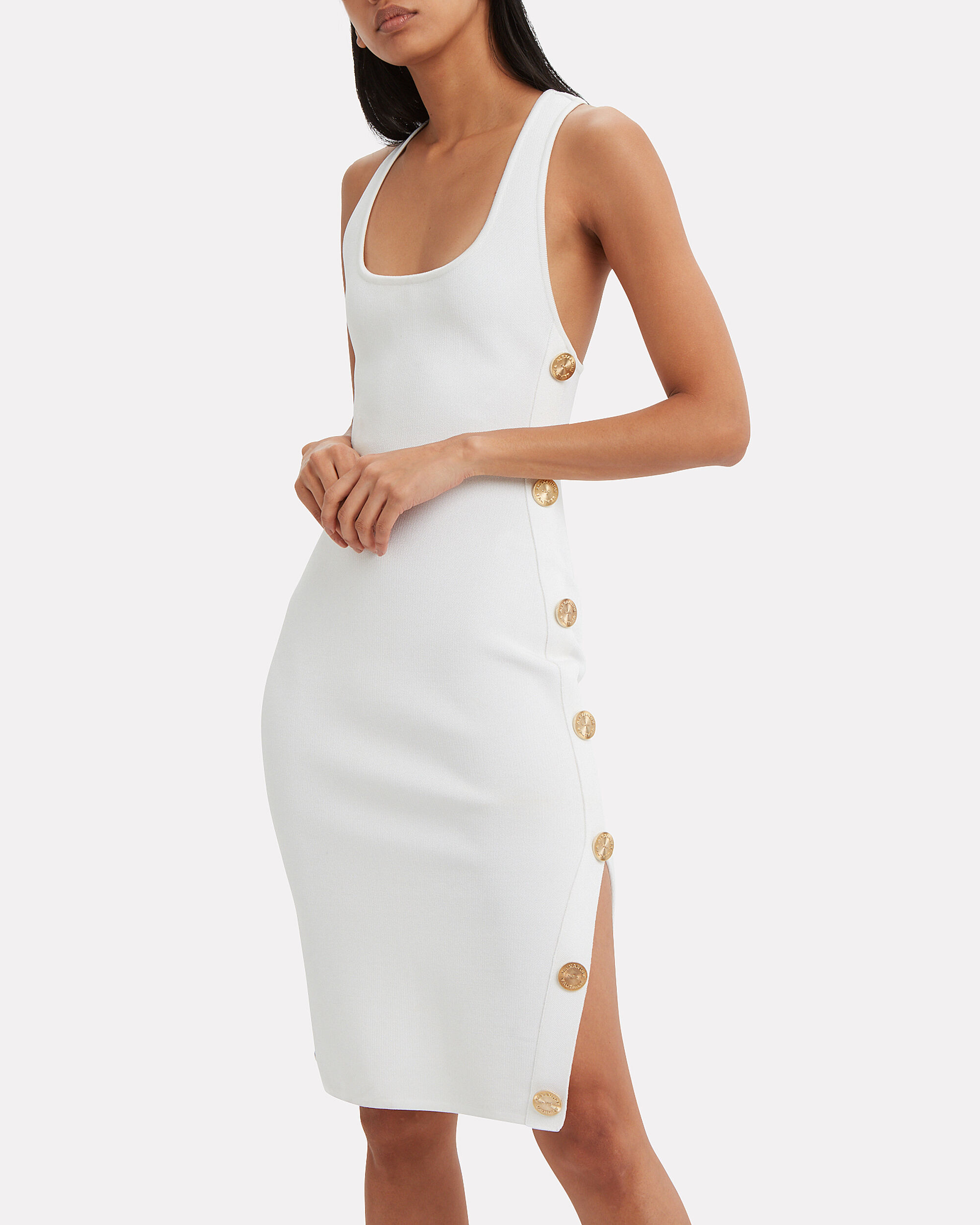 Body-Con Side Button Dress, WHITE, hi-res