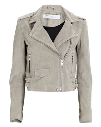 Ashley Suede Moto Jacket, GREY, hi-res