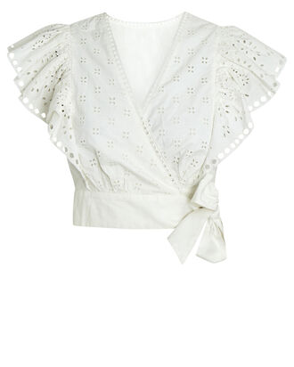 Lillian Eyelet Wrap Top, WHITE, hi-res