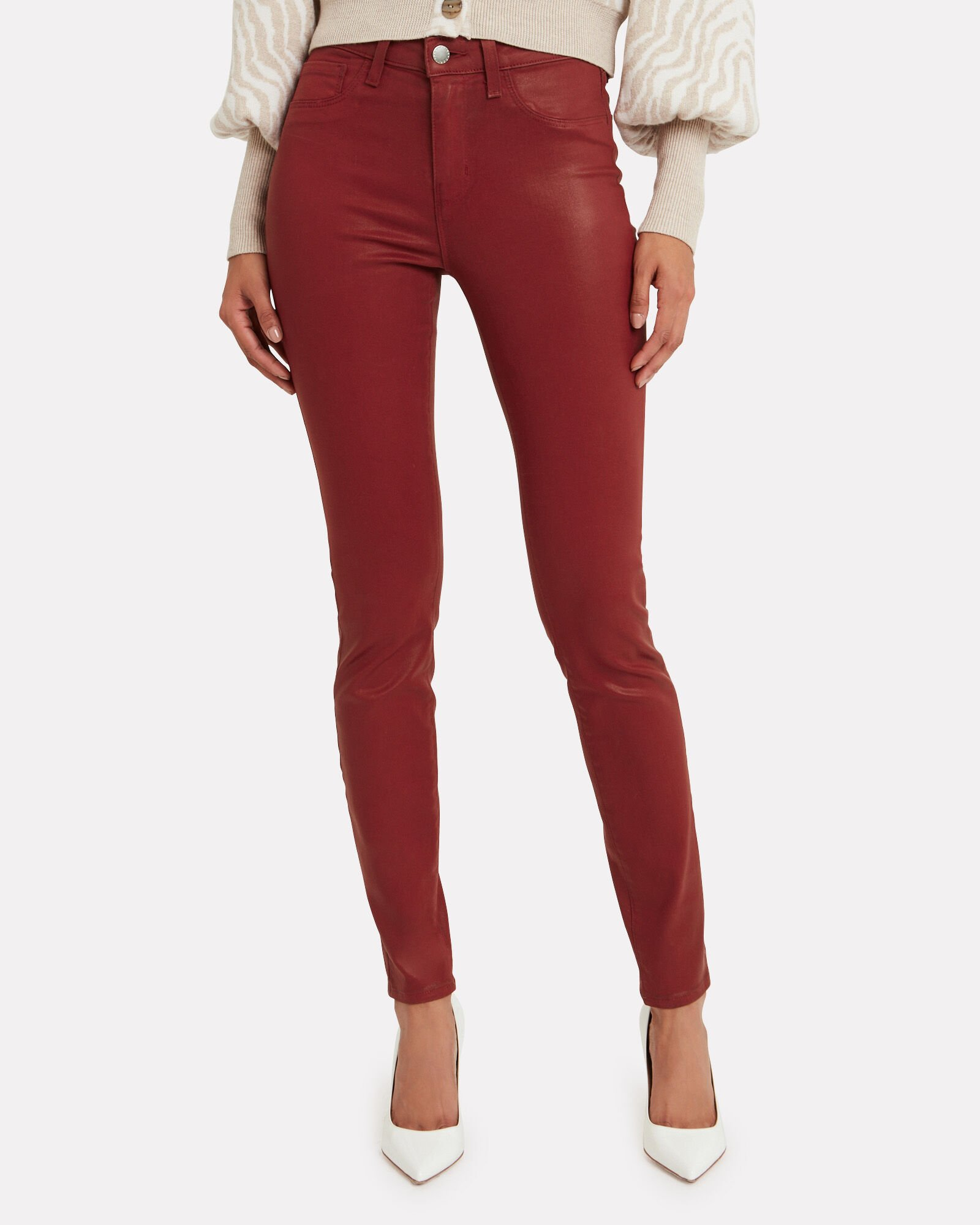 Margot Coated Skinny Jeans, RED, hi-res