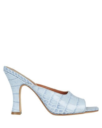 Croc-Embossed Sandals, POWDER BLUE, hi-res