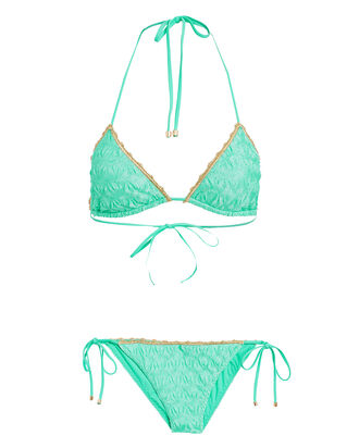 Metallic-Trimmed Triangle Bikini Set, TURQUOISE, hi-res