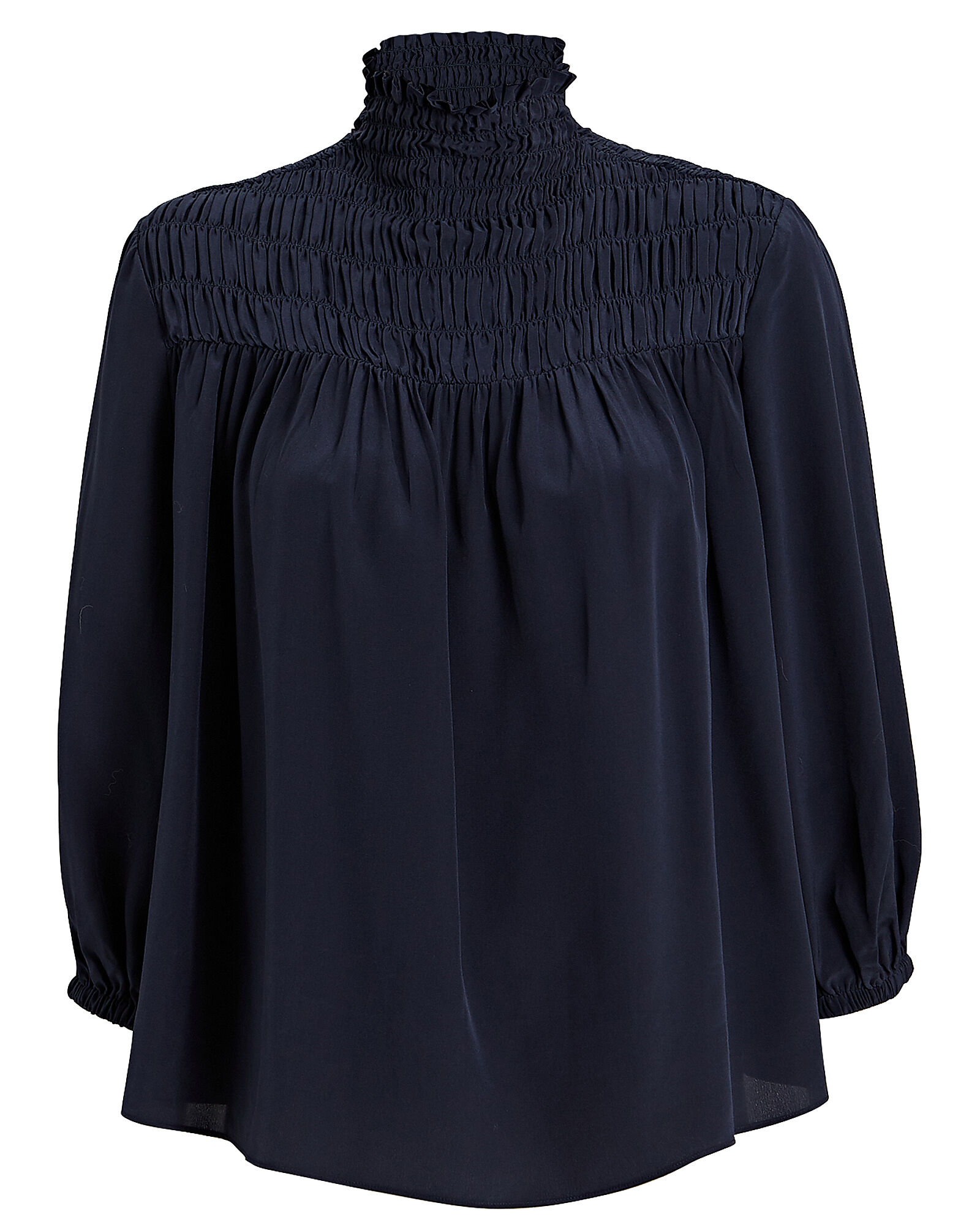 Smocked High Neck Silk Blouse, NAVY, hi-res