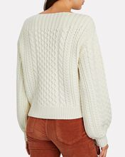 Cable Knit Boat Neck Sweater, IVORY, hi-res