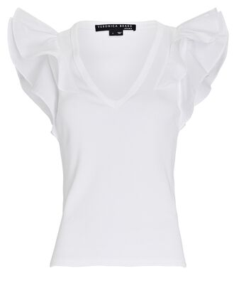 Cathie Ruffled V-Neck T-Shirt, WHITE, hi-res