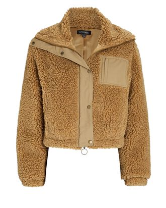 Jay Cropped Faux Shearling Jacket, BEIGE, hi-res