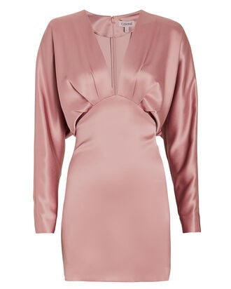 Satin Blouson Mini Dress, BLUSH, hi-res