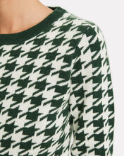 Happy Houndstooth Wool-Cashmere Sweater, FOREST/HOUNDSTOOTH, hi-res