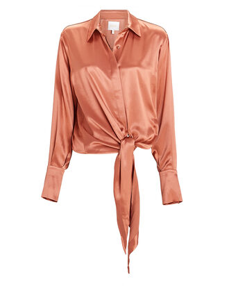 Lido Tie-Front Satin Shirt, ORANGE, hi-res