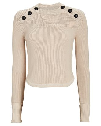 Hatfield Buttoned Wool-Blend Sweater, IVORY, hi-res